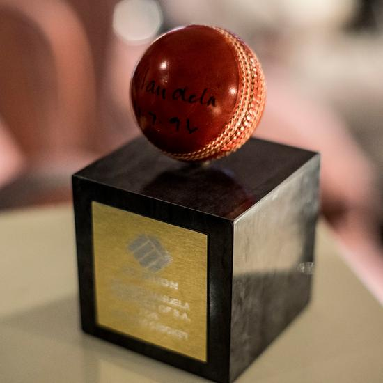 Nelson Mandela signed cricket ball