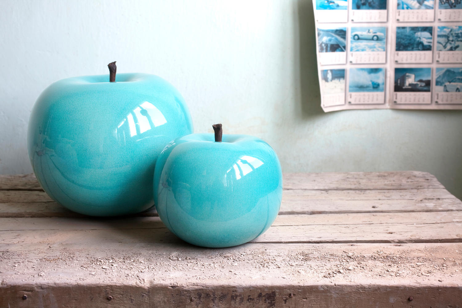 Turquoise glazed apple sculptures