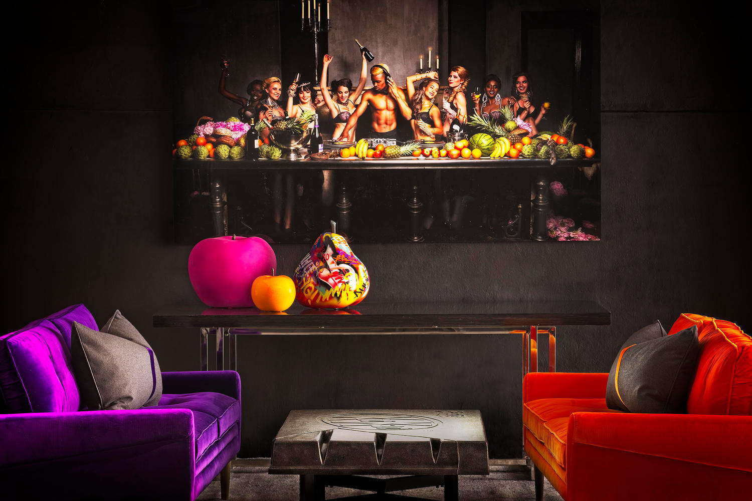Firecracker sofas in Grape Escape and Tangerine Dream; Flavours plexiglass artwork; Various fruit sculptures; Choc Chunk coffee table