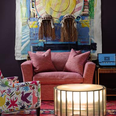 Cadogan_Loveseat_Sofa_upholstered_in_Delfini_Red_Berry_and_Shutter_Coffee_Table