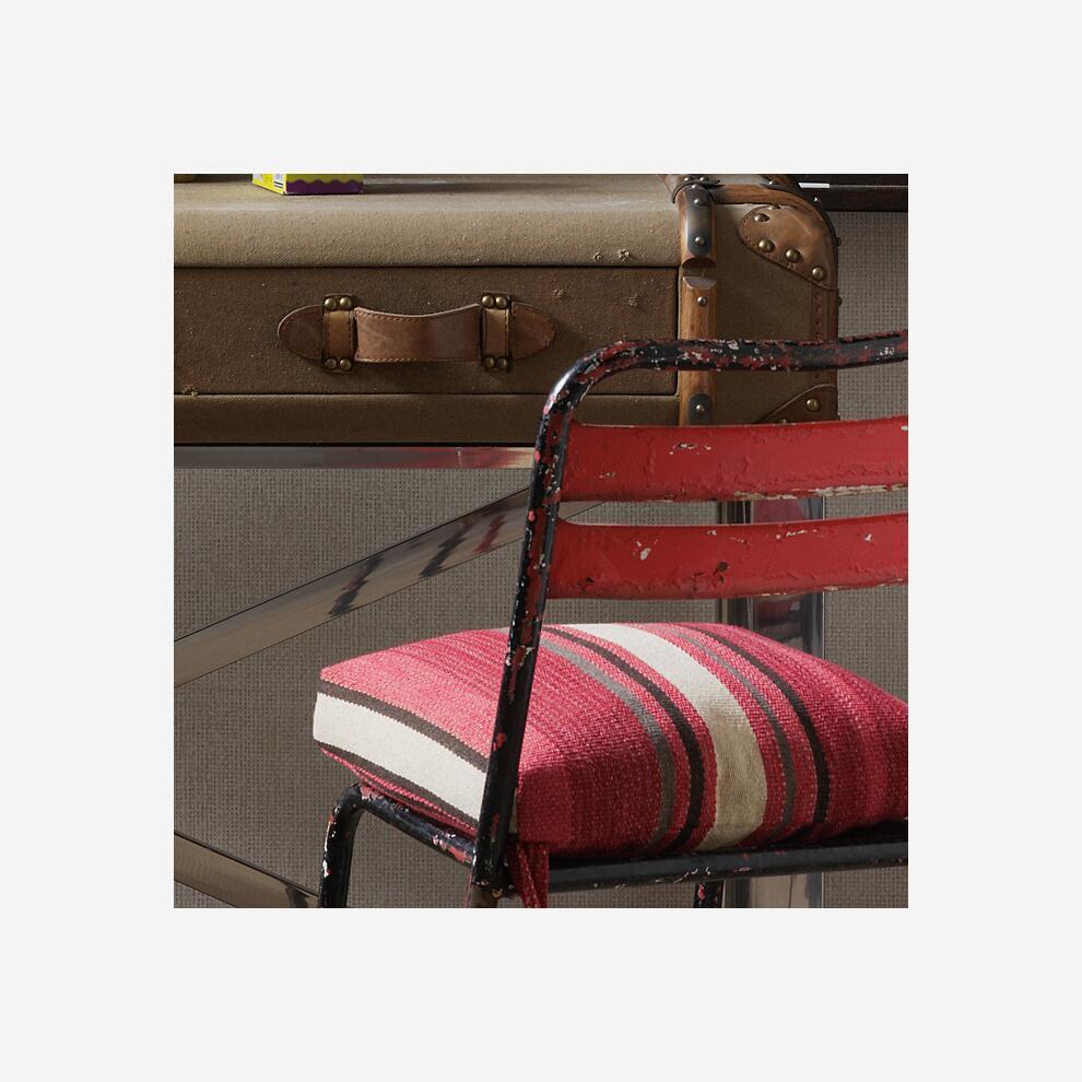 Raffia_Ecru_wallpaper_seat_cushions_in_Orillo_Brick_fabric_left_and_Portscatho_Plume_fabric_right_