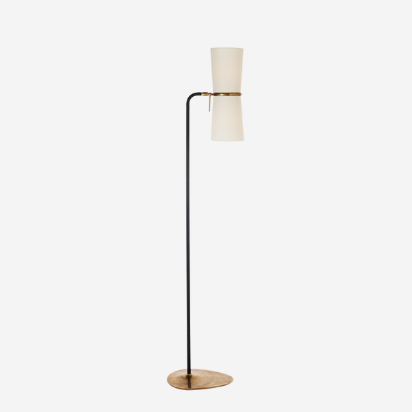 Clarkson_Floor_Lamp_in_Black_and_Antique_Brass_with_Linen_Shades