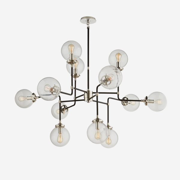 Bistro_Chandelier_in_Polished_Nickel_with_Clear_Glass