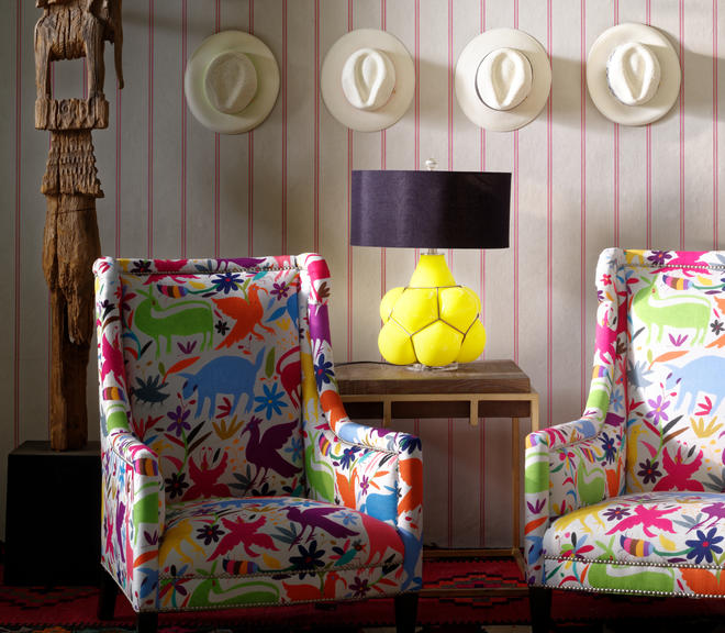 Ric Rac Carnival wallpaper Venus Chairs in Tiki Tiki Carnival Breuer side table Ernest table lamp