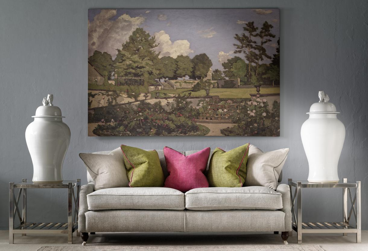 Montague_Sofa_upholstered_in_Paraggi_Muscari_with_scatters_in_Summit_Linen_Palazzo_Moss_and_Parasol_with_Horatio_Side_Tables