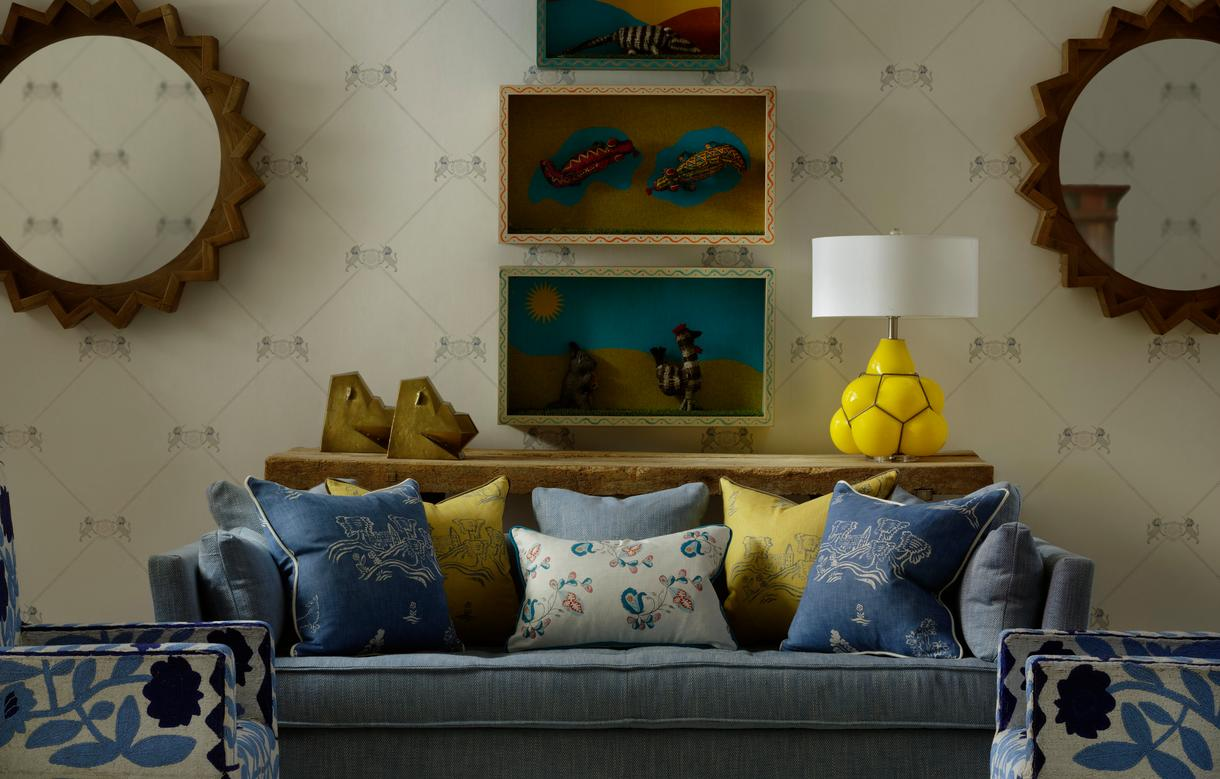 Unicorn_Grey_Wallpaper_with_Bloomsbury_Sofa_in_Summit_Beach_and_Psycho_Sprig_Tropical_Blue_and_Friendly_Folk_Happy_Blue_and_Provencal_Yellow_scatter_cushions