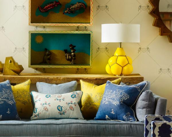 Friendly Folk Happy Blue and Provencal Yellow Cushions Lifestyle