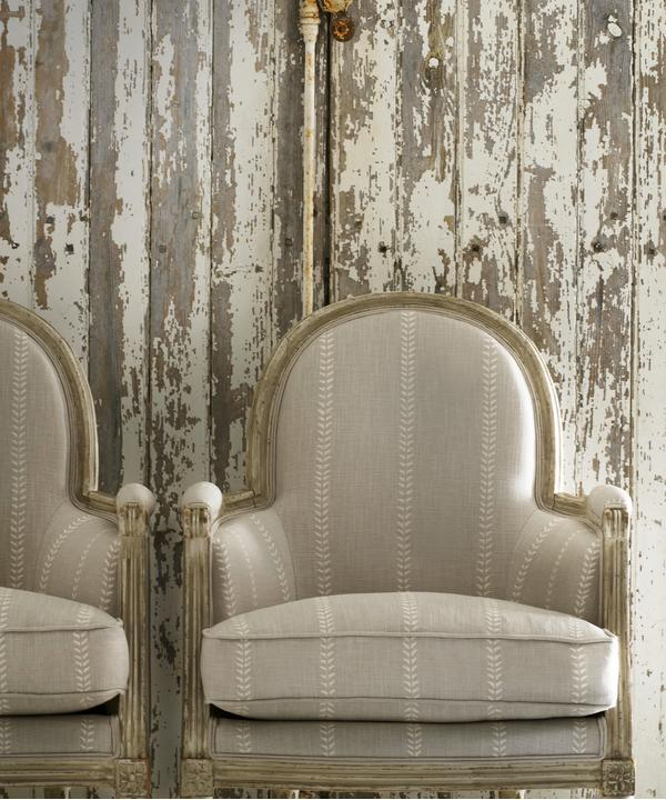 Nile Stone fabric upholstered on antique chairs